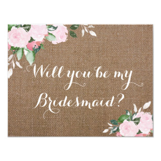 Burlap Pink Peonies Bridesmaid Proposal Card