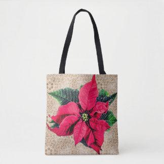 Burlap & Poinsettia Print Tote Bag