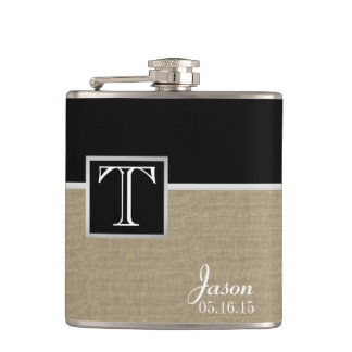 Burlap Print and Monogram Hip Flask
