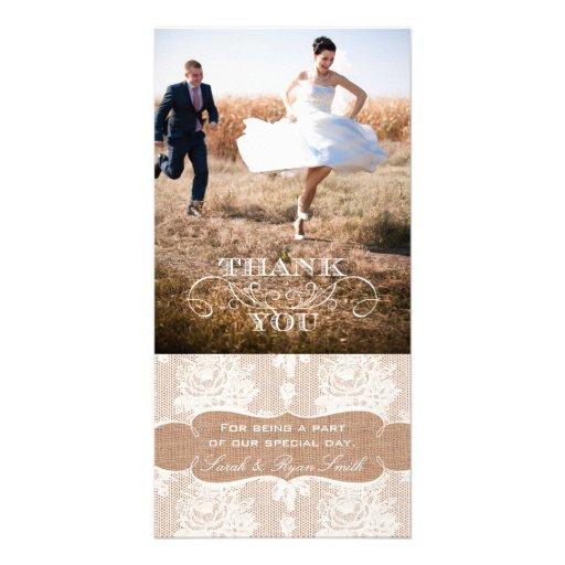 Burlap Print Lace Wedding Thank You Photo Cards