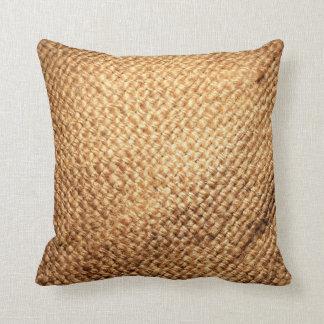 Burlap Print Throw Pillow