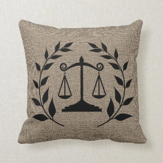 Burlap Print with Silhouette Scales of Justice Cushion
