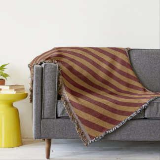 Burlap Red & Tan Stripes Throw Blanket