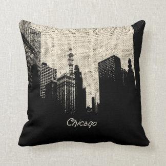 Burlap Retro Chicago Cushion