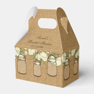 burlap roses mason jar bridal shower favor box