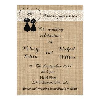 Burlap Rustic Funny Cats In Love Wedding Card