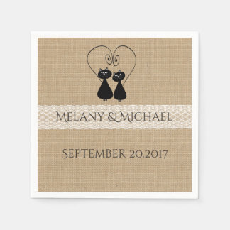 Burlap rustic funny cats in love wedding disposable napkin