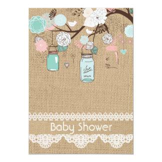 Burlap Rustic Lace Mason Jar Baby Shower Invitatio 13 Cm X 18 Cm Invitation Card