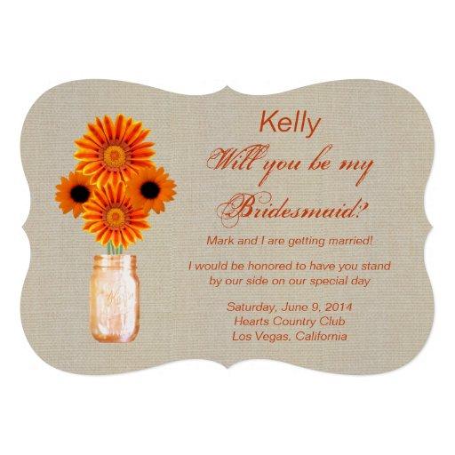 Burlap Rustic Orange Mason Jar Bridesmaid Card
