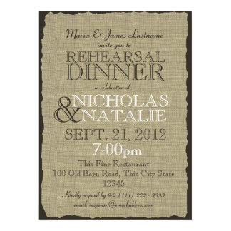 Burlap Rustic Rehearsal Dinner 14 Cm X 19 Cm Invitation Card