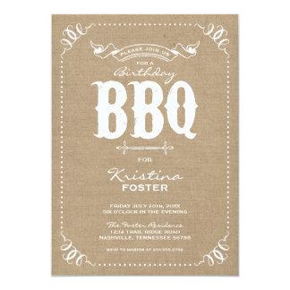 Burlap Rustic Vintage Chic Birthday Party BBQ 13 Cm X 18 Cm Invitation Card