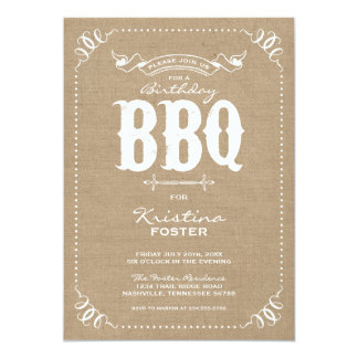 Burlap Rustic Vintage Chic Birthday Party BBQ Card