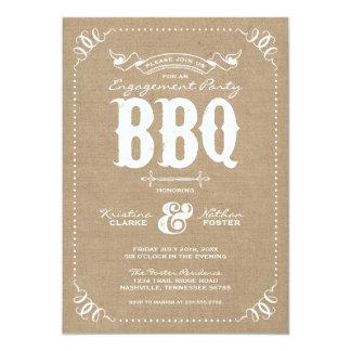 Burlap Rustic Vintage Chic Engagement Party BBQ 13 Cm X 18 Cm Invitation Card