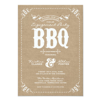 Burlap Rustic Vintage Chic Engagement Party BBQ Card