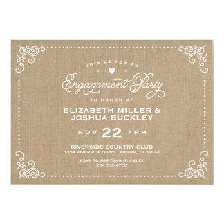 Burlap Rustic Vintage Script Engagement Party 13 Cm X 18 Cm Invitation Card