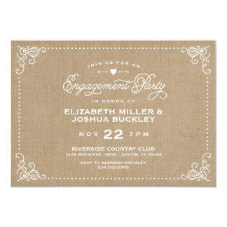 Burlap Rustic Vintage Script Engagement Party Card