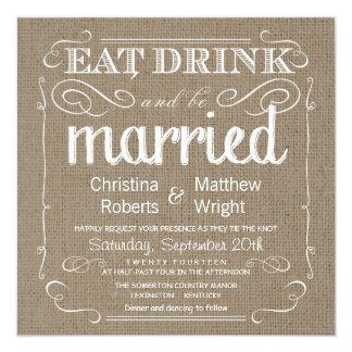 Burlap Rustic Vintage Wedding Invitations