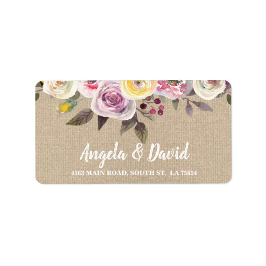 Burlap Rustic Watercolor Floral Address Labels