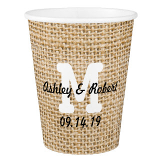 Burlap Rustic Wedding Reception Custom Monogram Paper Cup