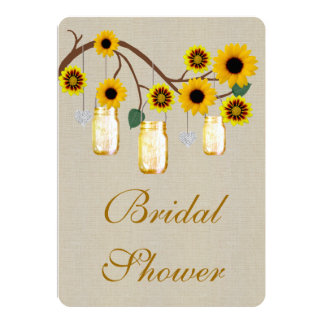 Burlap Rustic Yellow Mason Jar BridalShower Invite