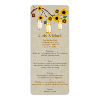 Burlap Rustic Yellow Mason Jars Menu Card Personalized Announcement
