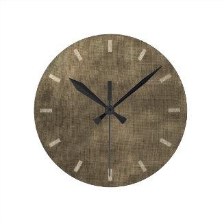Burlap Sepia Black Linen Minimal Monochromatic Lux Round Clock