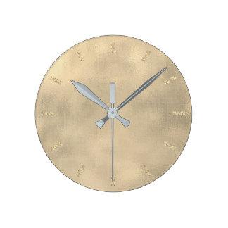 Burlap Sepia Gold Linen Minimal Monochroma Metall Round Clock