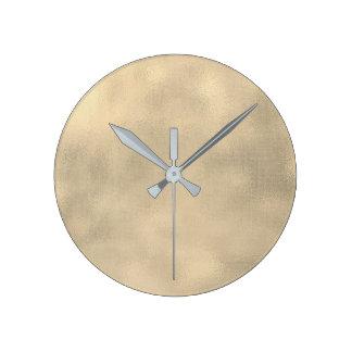Burlap Sepia Gold Linen Minimal Monochromatic Lux Round Clock
