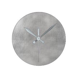 Burlap Silver Gray Linen Minimal Monochromatic Lux Round Clock