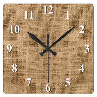 Burlap Square Wall Clock