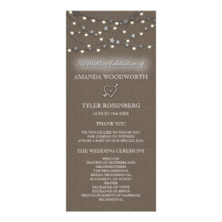 Burlap Star String Lights Rustic Wedding Programs Rack Card