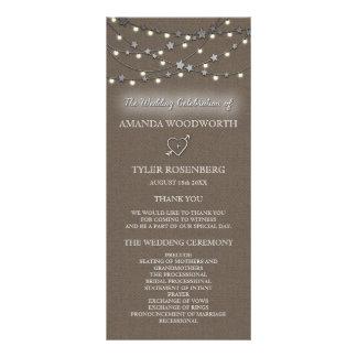 Burlap Star String Lights Rustic Wedding Programs Rack Card Design