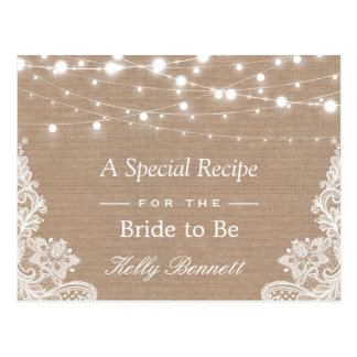 Burlap String Lights Lace Bridal Shower Recipe Postcard