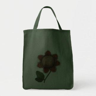 burlap sunflower tote bag