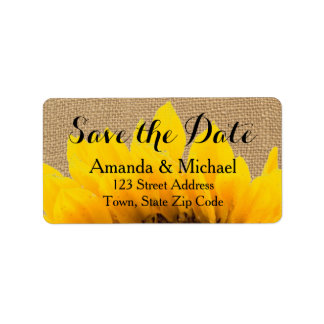 Burlap Sunflower | Save the Date Address Label
