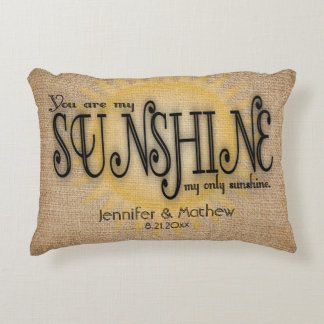 Burlap Sunshine Rustic Wedding Decorative Cushion