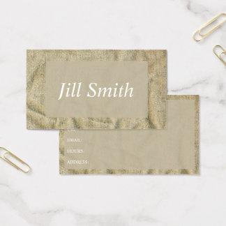 Burlap Textile Beige Texture Woven Vintage Business Card