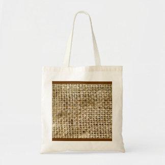 Burlap Texture Budget Tote Bag