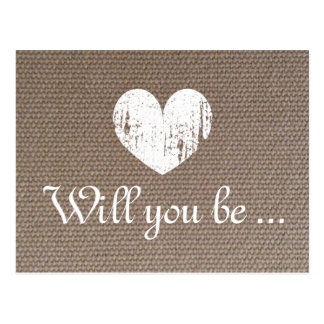 Burlap texture cards | Will you be my bridesmaid