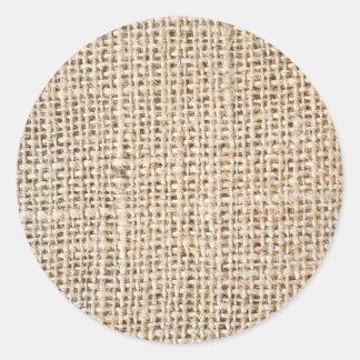 Burlap texture classic round sticker