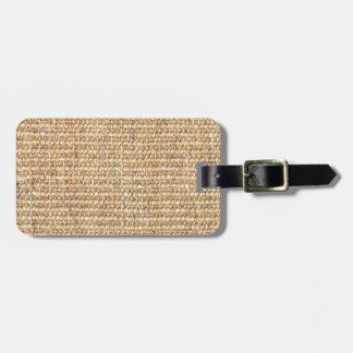 Burlap texture luggage tag