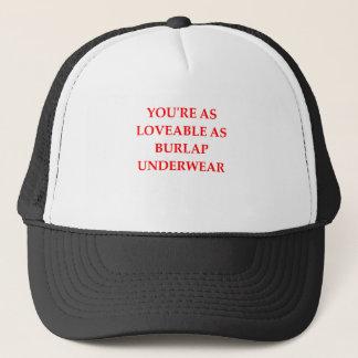 BURLAP TRUCKER HAT