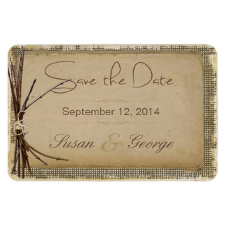 Burlap, Twigs and Twine Save the Date Rectangular Photo Magnet