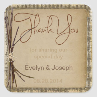 Burlap, Twigs and Twine Thank You ID132 Square Sticker