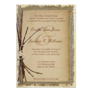 Burlap, Twigs and Twine Wedding ID132 Card
