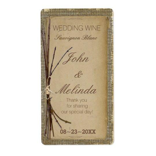 Burlap, Twigs and Twine Wedding Wine ID132