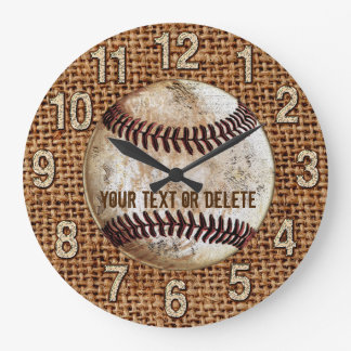 Burlap Vintage Baseball Clock with YOUR TEXT