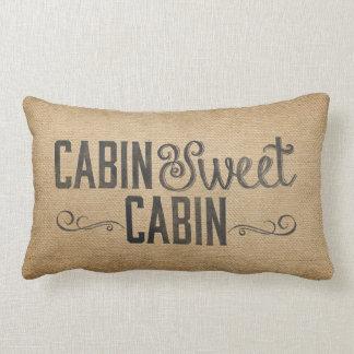Burlap Vintage Cabin Sweet Cabin Lumbar Cushion
