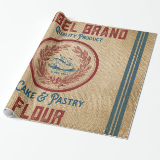 Burlap Vintage Cake Pastry Flour Sack Wrapping Paper