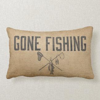 Burlap Vintage Gone Fishing Lumbar Cushion